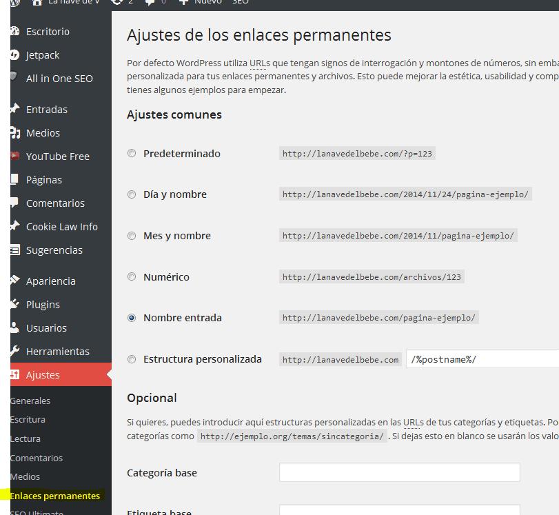 Donde ajustar enlaces en wordpress