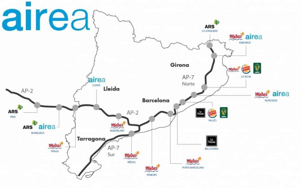 mapa de AIREA areas de servicio