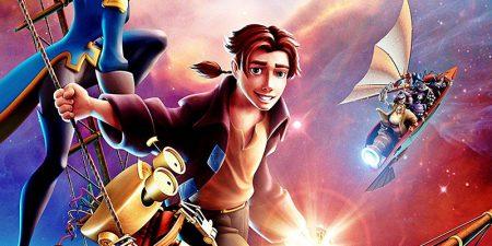 imagen de la película el planeta del tesoro donde se ve al protagonista, la capitana y el robót y varios barcos steampunk