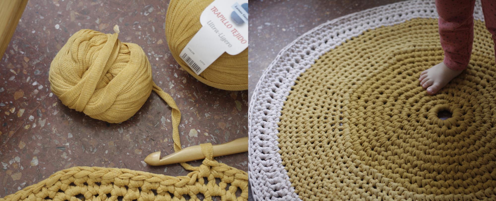 imagen de la alfombra de trapillo a medio hacer y terminada